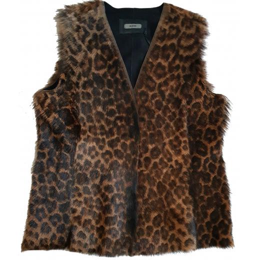 Riani futrzana kamizelka skóra naturalna leopard