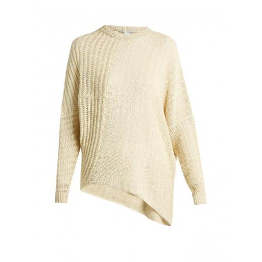 Stella McCartney beżowy sweter asymetryczny 36/38