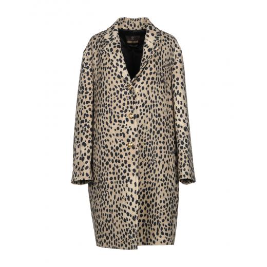 Wełniany płaszcz we wzór leoparda