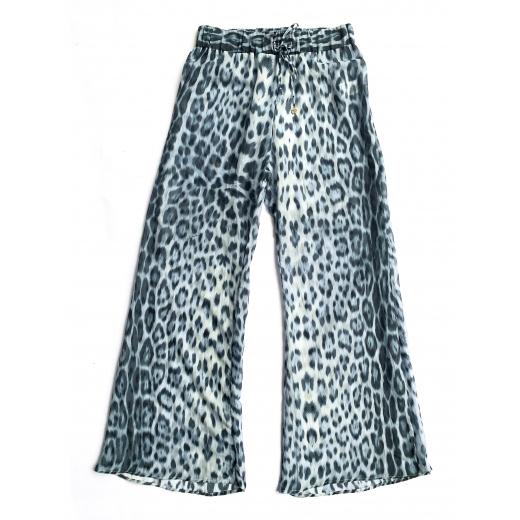 """Spodnie z bawełny i jedwabiu, wzór """"Leopard"""""""