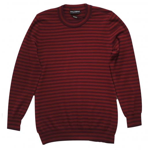 Dolce Gabbana Red Striped Cashmere Sweater S-M