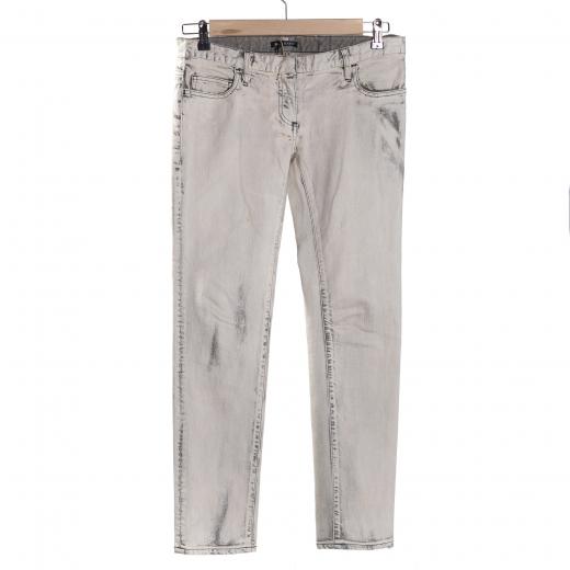 Jeansy przecierane marmurkowe