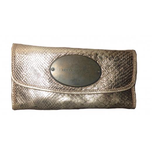 Złoty skórzany portfel marki Armani Exchang