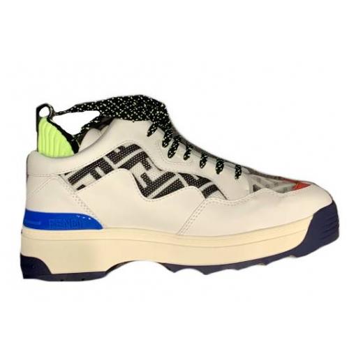 FENDI – skórzane sportowe buty z logo 3D