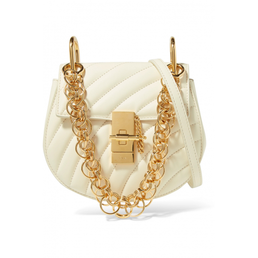 CHLOE MINI DREW BIJOU SHOULDER BAG natural white