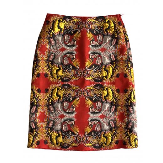 GUCCI - czerwona spódnica w złote tygrysy